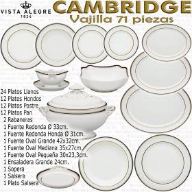 Vista Alegre CABRIDGE 70 71 piezas vajilla completa 12 servicios