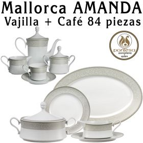 Mallorca Amanda Vajilla con Juego Café 84 piezas Pontesa Santa Clara