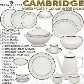 Vista Alegre Vajilla Cambridge con servicio de Café completo y 12 Tazas de Consomé con Plato