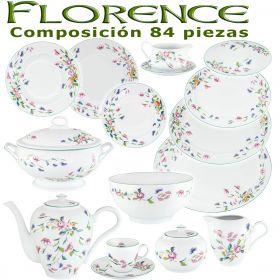Vajilla + Juego Café Porcel 84 Piezas Florence Flores
