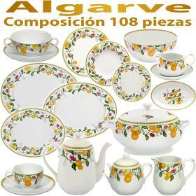 Vajilla con juego de café y servicios de consome vista alegre algarve 108 piezas