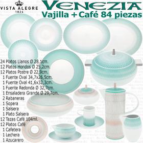 Vajilla completa con Juego café 84 piezas Vista Alegre Venezia Verde