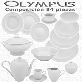 Vajilla + Café Porcel 84 piezas Olympus Blanco Hogar y Hostelería Personalizable
