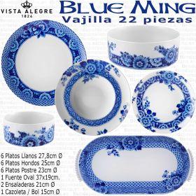 BLUE MING Vajilla Vista Alegre 22 piezas