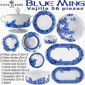 BLUE MING Vajilla Vista Alegre 56 piezas completa