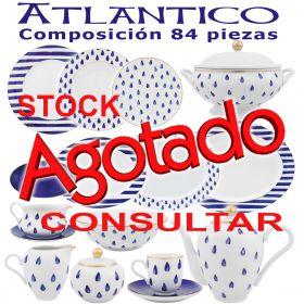 Vajillas Porcel 57 piezas Atlántico Azul Cobalto y Oro