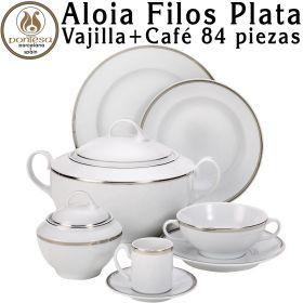 Aloia Filos Plata Vajilla + Juego Café 83/84 piezas Pontesa Porcelana