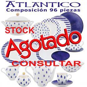 Vajilla más Juego Cafe Porcel 83 piezas Atlántico Azul Cobalto y Oro