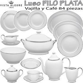Vajilla y Juego Café 84 piezas Vista Alegre Luso Filo Plata