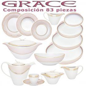 Vajilla + Café Porcel 83 piezas Grace Rosa Nacar y Oro Estilo Clásico