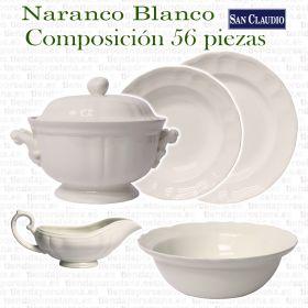 Naranco Blanco Vajilla San Claudio Loza de 56 piezas completa