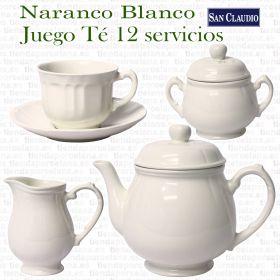San Claudio Naranco Blanco Juego de Café de Loza 12 servicios 27 piezas