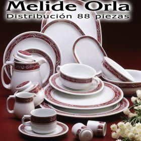 Vajilla + Café + Té + Desayuno 88 piezas Pontesa/Santa Clara Melide ORLA