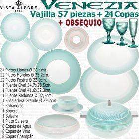 Vajilla completa VENEZIA Vista Alegre con OBSEQUIO Cristalería 36 piezas Bicos Picos Verde Menta