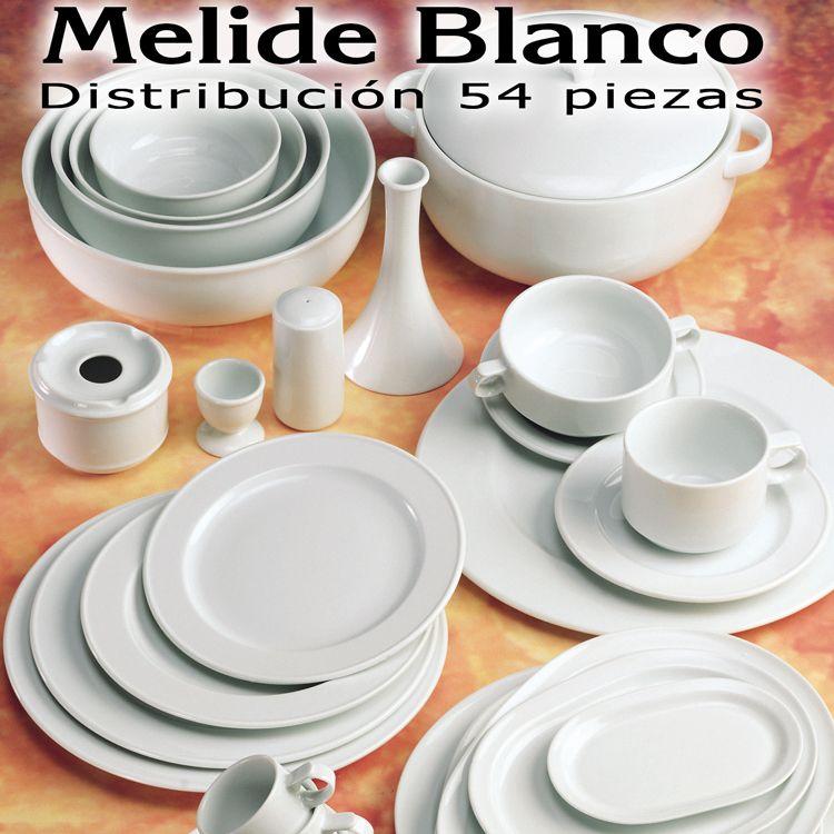 Vajilla barata - Servicio de Mesa Vajilla 54 piezas Santa Clara Pontesa  Melide Blanco d9b52eac827b