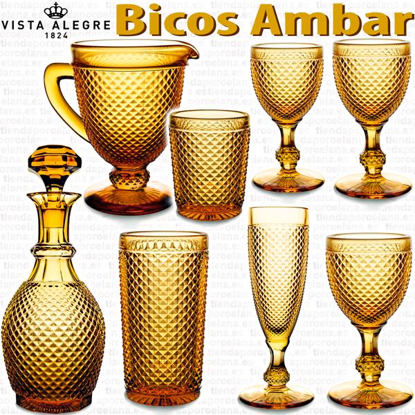 Cristalería de Vidrio Vista Alegre Bicos Picos AMBAR