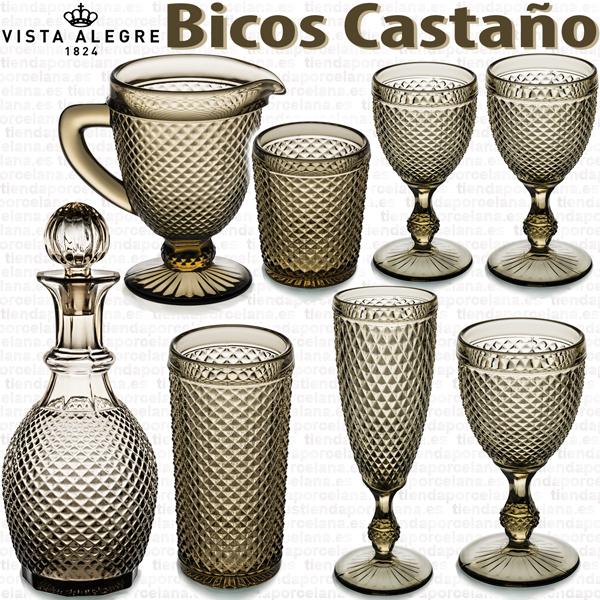Cristalería de Vidrio Vista Alegre Bicos Picos MARRON CASTAÑO