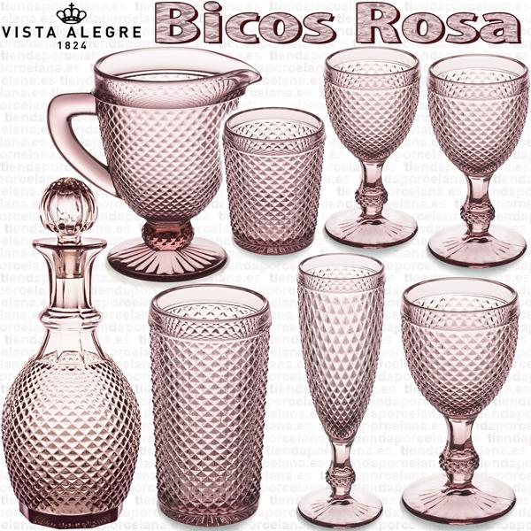 Cristalería de Vidrio Vista Alegre Bicos Picos ROSA