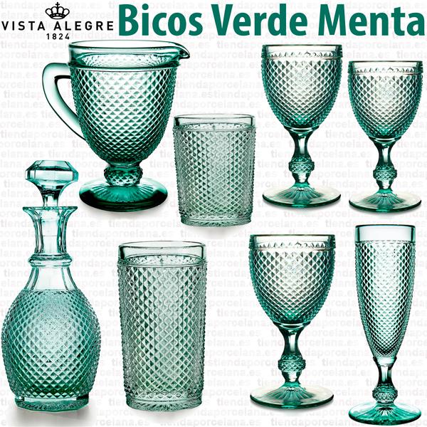 Cristalería de Vidrio Vista Alegre Atlantis Bicos Picos Verde Menta
