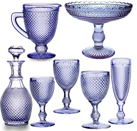 Logo Cristalería Vista Alegre copas Cristal Bicos Picos Azul Lavanda