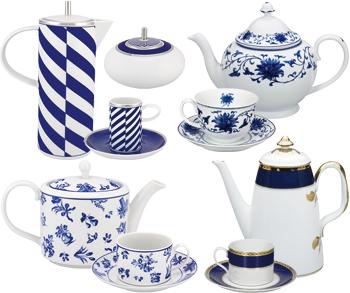 Juegos de Café y Té decorados Azul Cobalto regalo de bodas y ocasional