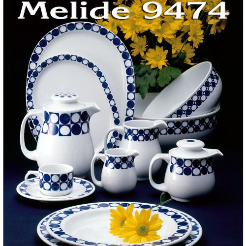 Vajillas Pontesa Santa Clara Porcelana Melide 9474 circulos puntos y cuadrados menaje Hogar y Hostelería