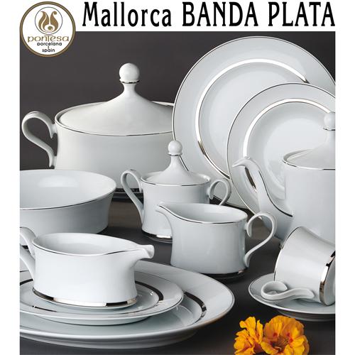 Vajillas Pontesa Porcelana Santa Clara Mallorca Banda Plata servicios de mesa menaje Hogar