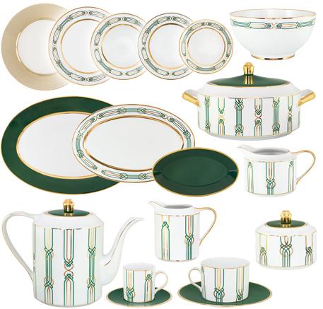 Logo Vajillas Porcel modernas Liberty Verde y Oro