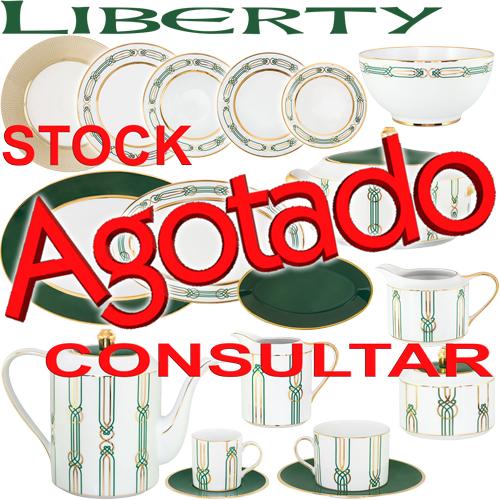 Vajillas Porcel Porcelanas Liberty elegante diseño en Verde y Oro