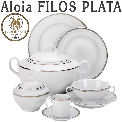 Vajillas Santa Clara Porcelana Aloia Filos Plata