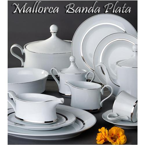 Vajillas Santa Clara Porcelana Mallorca Banda Plata