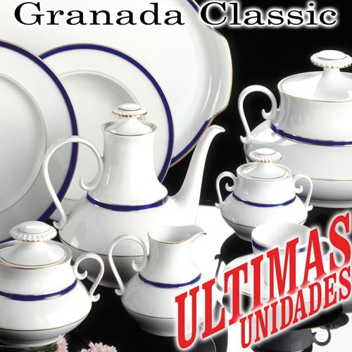 Vajillas Santa Clara Porcelana Granada Classic Cobalto y Oro