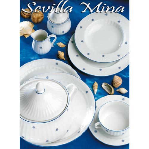 Vajillas Santa Clara Porcelana Sevilla Mina Flores Azules