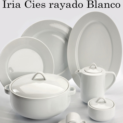 Vajillas Santa Clara Porcelana Iria Cies Rayado Blanco