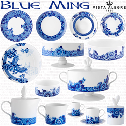 Vajillas decoradas uso diario Vista Alegre Blue Ming, Cafe, Servicio Te, Juego Consomé